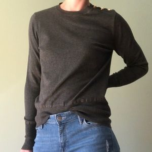 Nordstrom Gray Knit Gold Button Sweater Size M